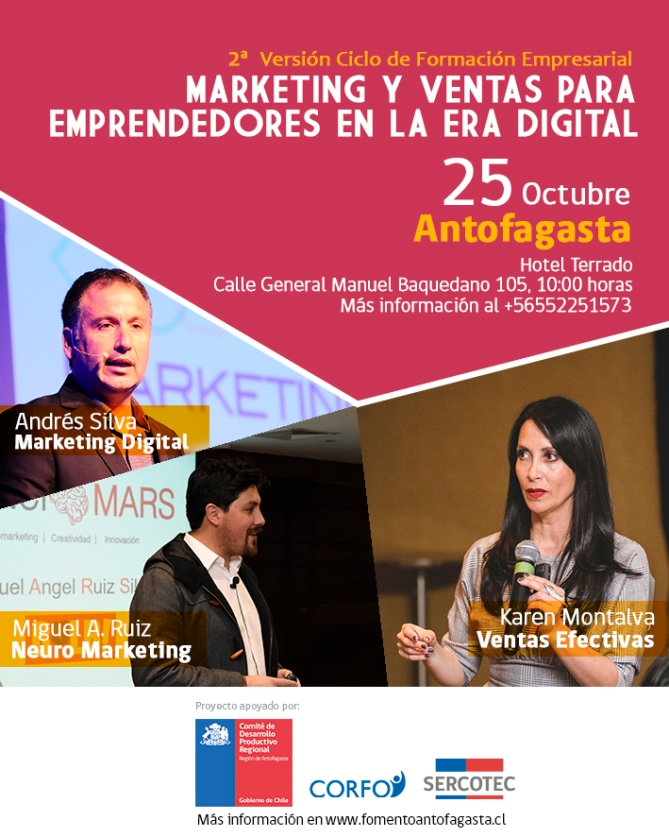 andres silva arancibia, karen montalva, miguel angel ruiz, seminario, marketing digital, ventas, neuromarketing, antofagasta