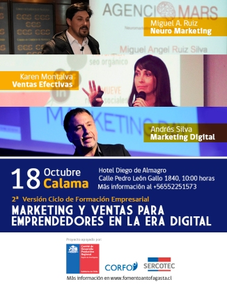 andres silva arancibia, karen montalva, miguel angel ruiz, seminario, marketing digital, ventas, neuromarketing, Calama