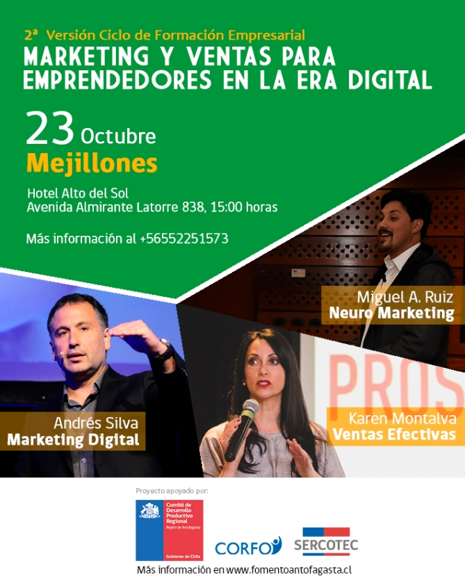andres silva arancibia, karen montalva, miguel angel ruiz, seminario, marketing digital, ventas, neuromarketing, Mijillones