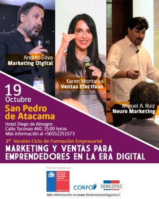 andres silva arancibia, karen montalva, miguel angel ruiz, seminario, marketing digital, ventas, neuromarketing, San Pedro de Atacama