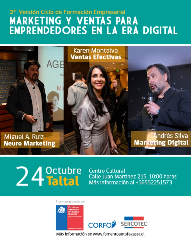 andres silva arancibia, karen montalva, miguel angel ruiz, seminario, marketing digital, ventas, neuromarketing, Taltal