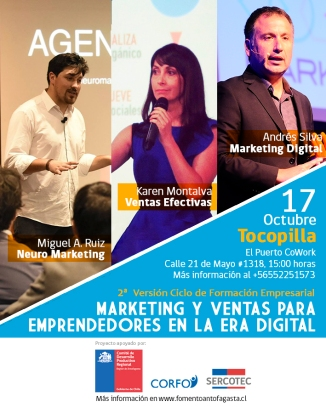 andres silva arancibia, karen montalva, miguel angel ruiz, seminario, marketing digital, ventas, neuromarketing, Tocopilla